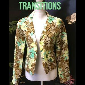 Silk & Linen Tropical Print Blazer